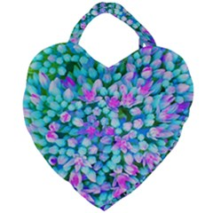Blue And Hot Pink Succulent Sedum Flowers Detail Giant Heart Shaped Tote by myrubiogarden