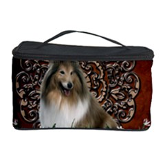 Cute Collie With Flowers On Vintage Background Cosmetic Storage