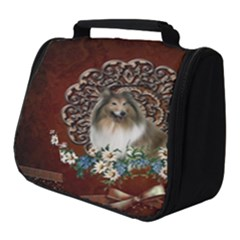 Cute Collie With Flowers On Vintage Background Full Print Travel Pouch (small) by FantasyWorld7