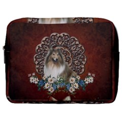 Cute Collie With Flowers On Vintage Background Make Up Pouch (large) by FantasyWorld7