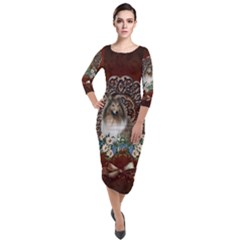 Cute Collie With Flowers On Vintage Background Quarter Sleeve Midi Velour Bodycon Dress