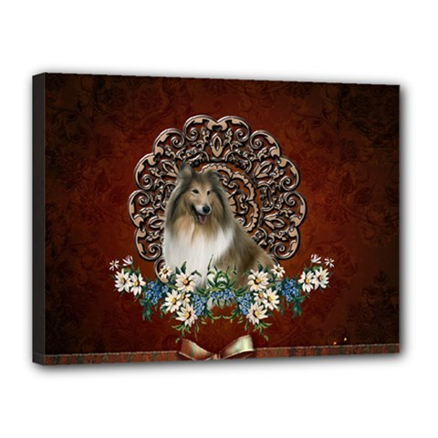 Cute Collie With Flowers On Vintage Background Canvas 16  X 12  (stretched)