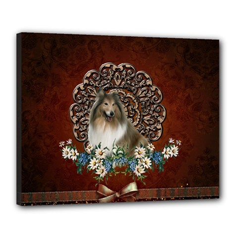 Cute Collie With Flowers On Vintage Background Canvas 20  X 16  (stretched) by FantasyWorld7