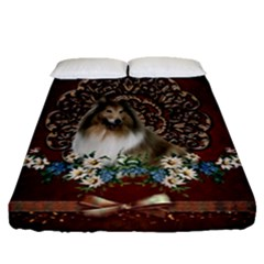 Cute Collie With Flowers On Vintage Background Fitted Sheet (queen Size)