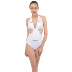 Background Nebulous Fog Rings Halter Front Plunge Swimsuit
