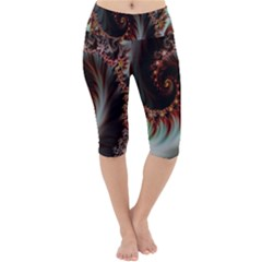 Digital Fractal Fractals Fantasy Lightweight Velour Cropped Yoga Leggings by Bejoart
