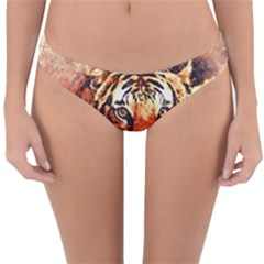 Tiger Portrait Art Abstract Reversible Hipster Bikini Bottoms by Bejoart