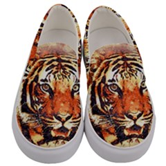 Tiger Portrait Art Abstract Men s Canvas Slip Ons