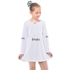 Marble Texture White Pattern Kids  Long Sleeve Dress