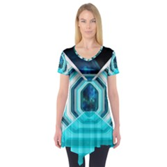 Space Ship Sci Fi Fantasy Science Short Sleeve Tunic