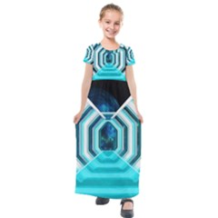 Space Ship Sci Fi Fantasy Science Kids  Short Sleeve Maxi Dress by Bejoart