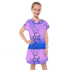 Nature Inspiration Trees Blue Kids  Drop Waist Dress