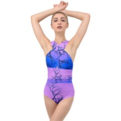 Nature Inspiration Trees Blue Cross Front Low Back Swimsuit