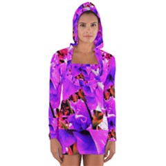 Abstract Ultra Violet Purple Iris On Red And Pink Long Sleeve Hooded T-shirt by myrubiogarden