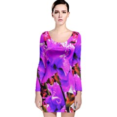 Abstract Ultra Violet Purple Iris On Red And Pink Long Sleeve Velvet Bodycon Dress