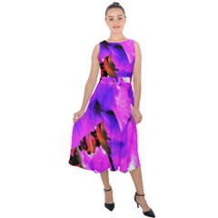 Abstract Ultra Violet Purple Iris On Red And Pink Midi Tie Back Chiffon Dress