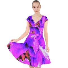 Abstract Ultra Violet Purple Iris On Red And Pink Cap Sleeve Front Wrap Midi Dress