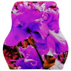 Abstract Ultra Violet Purple Iris On Red And Pink Car Seat Velour Cushion  by myrubiogarden