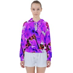 Abstract Ultra Violet Purple Iris On Red And Pink Women s Tie Up Sweat by myrubiogarden