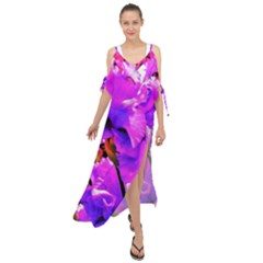 Abstract Ultra Violet Purple Iris On Red And Pink Maxi Chiffon Cover Up Dress