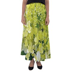 Elegant Chartreuse Green Limelight Hydrangea Macro Flared Maxi Skirt