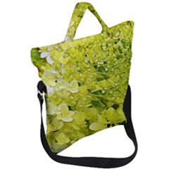 Elegant Chartreuse Green Limelight Hydrangea Macro Fold Over Handle Tote Bag