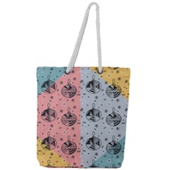 Abstract Christmas Balls Pattern Full Print Rope Handle Tote (large)