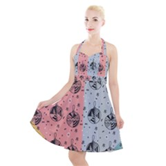 Abstract Christmas Balls Pattern Halter Party Swing Dress