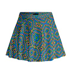 Abstract Background Rainbow Mini Flare Skirt