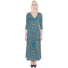 Abstract Background Rainbow Quarter Sleeve Wrap Maxi Dress