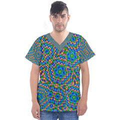 Abstract Background Rainbow Men s V Neck Scrub Top