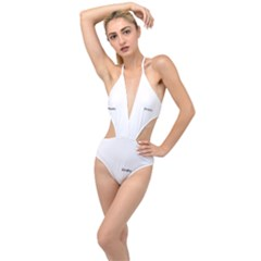 Vintage Key Pattern Plunging Cut Out Swimsuit