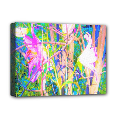 Abstract Oriental Lilies In My Rubio Garden Deluxe Canvas 16  X 12  (stretched)