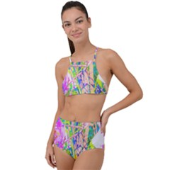 Abstract Oriental Lilies In My Rubio Garden High Waist Tankini Set
