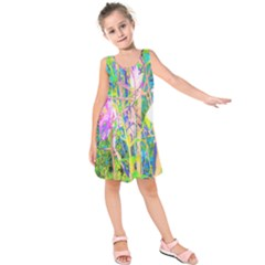 Abstract Oriental Lilies In My Rubio Garden Kids  Sleeveless Dress