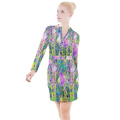 Abstract Oriental Lilies In My Rubio Garden Button Long Sleeve Dress by myrubiogarden