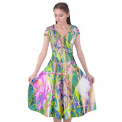 Abstract Oriental Lilies In My Rubio Garden Cap Sleeve Wrap Front Dress