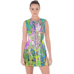 Abstract Oriental Lilies In My Rubio Garden Lace Up Front Bodycon Dress