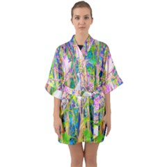 Abstract Oriental Lilies In My Rubio Garden Quarter Sleeve Kimono Robe