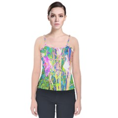 Abstract Oriental Lilies In My Rubio Garden Velvet Spaghetti Strap Top