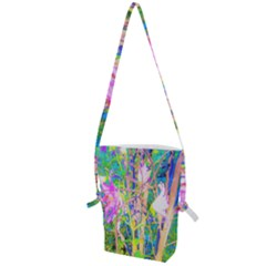 Abstract Oriental Lilies In My Rubio Garden Folding Shoulder Bag