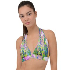Abstract Oriental Lilies In My Rubio Garden Halter Plunge Bikini Top