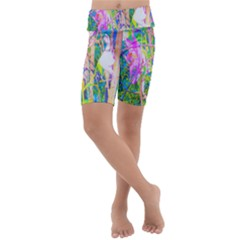 Abstract Oriental Lilies In My Rubio Garden Kids  Lightweight Velour Cropped Yoga Leggings