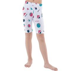 Round Triangle Geometric Pattern Kids  Mid Length Swim Shorts