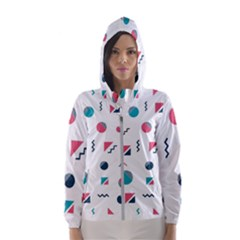 Round Triangle Geometric Pattern Hooded Windbreaker (women)