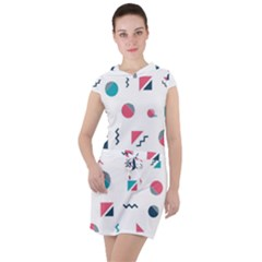 Round Triangle Geometric Pattern Drawstring Hooded Dress