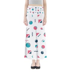 Round Triangle Geometric Pattern Full Length Maxi Skirt
