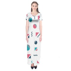 Round Triangle Geometric Pattern Short Sleeve Maxi Dress