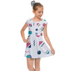Round Triangle Geometric Pattern Kids Cap Sleeve Dress
