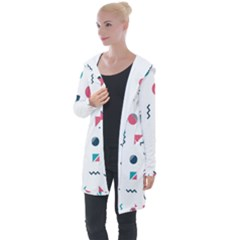 Round Triangle Geometric Pattern Longline Hooded Cardigan